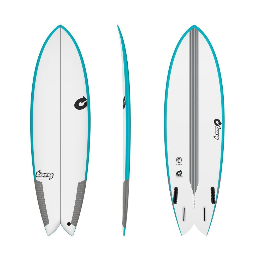 Surfboard TORQ Epoxy TEC Quad Twin Fish 6.2 Rail